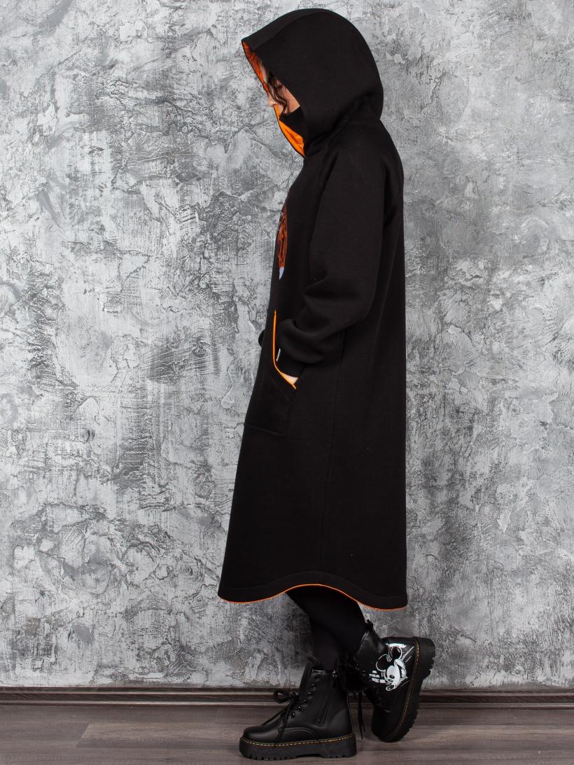 Платье-худи футер с начесом черный Лиса