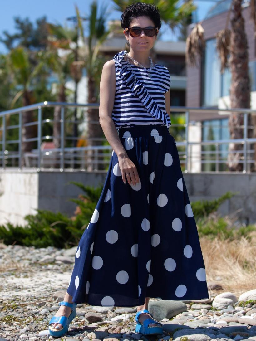 Блузка полоска темно-синий