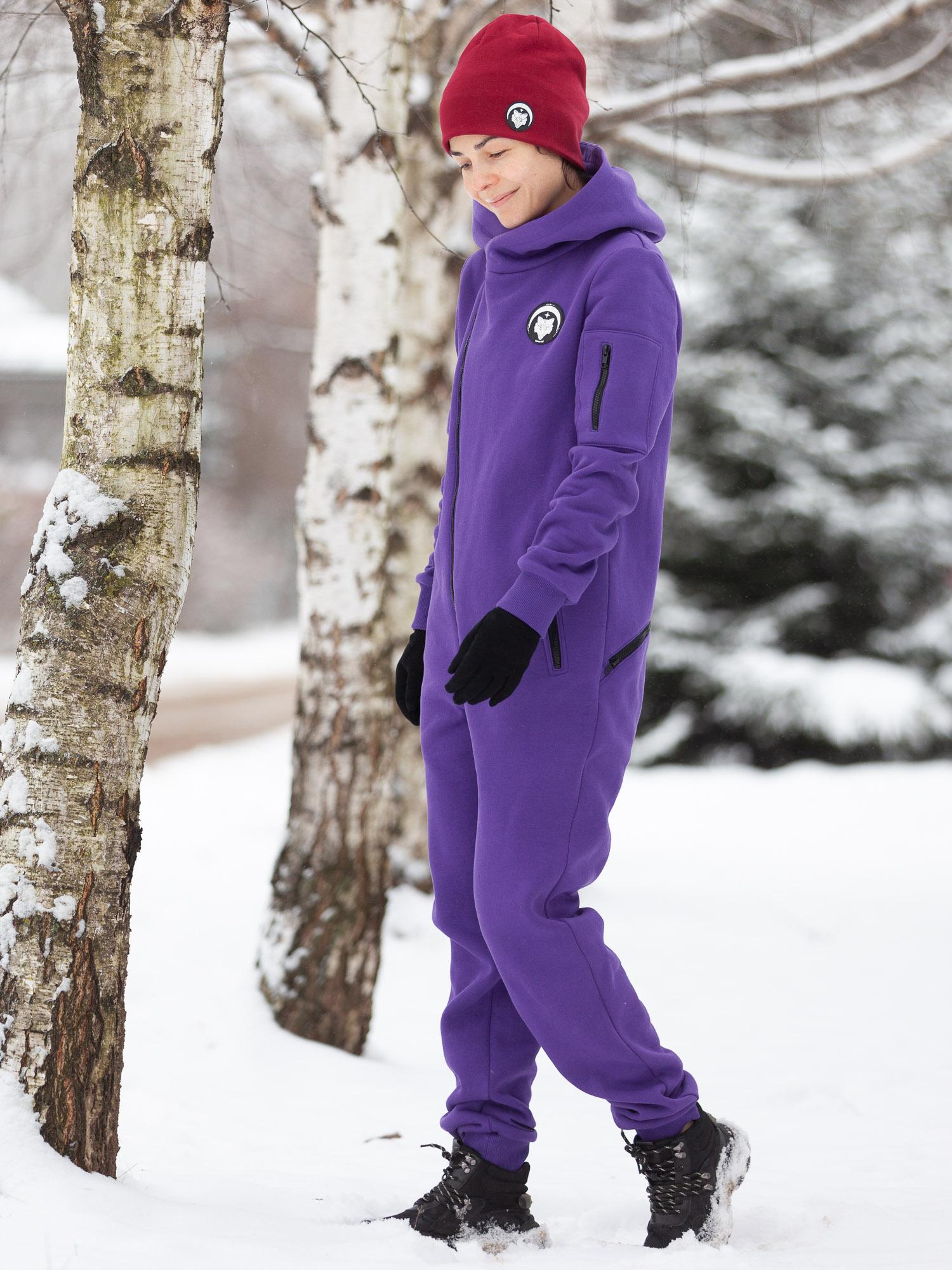 Комбинезон жен с гигиенич молнией начес фиолет