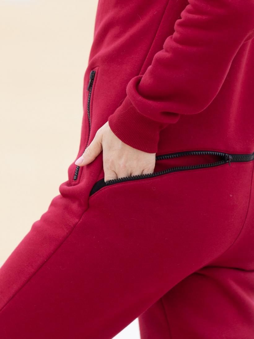Комбинезон жен с гигиенич молнией начес рубин