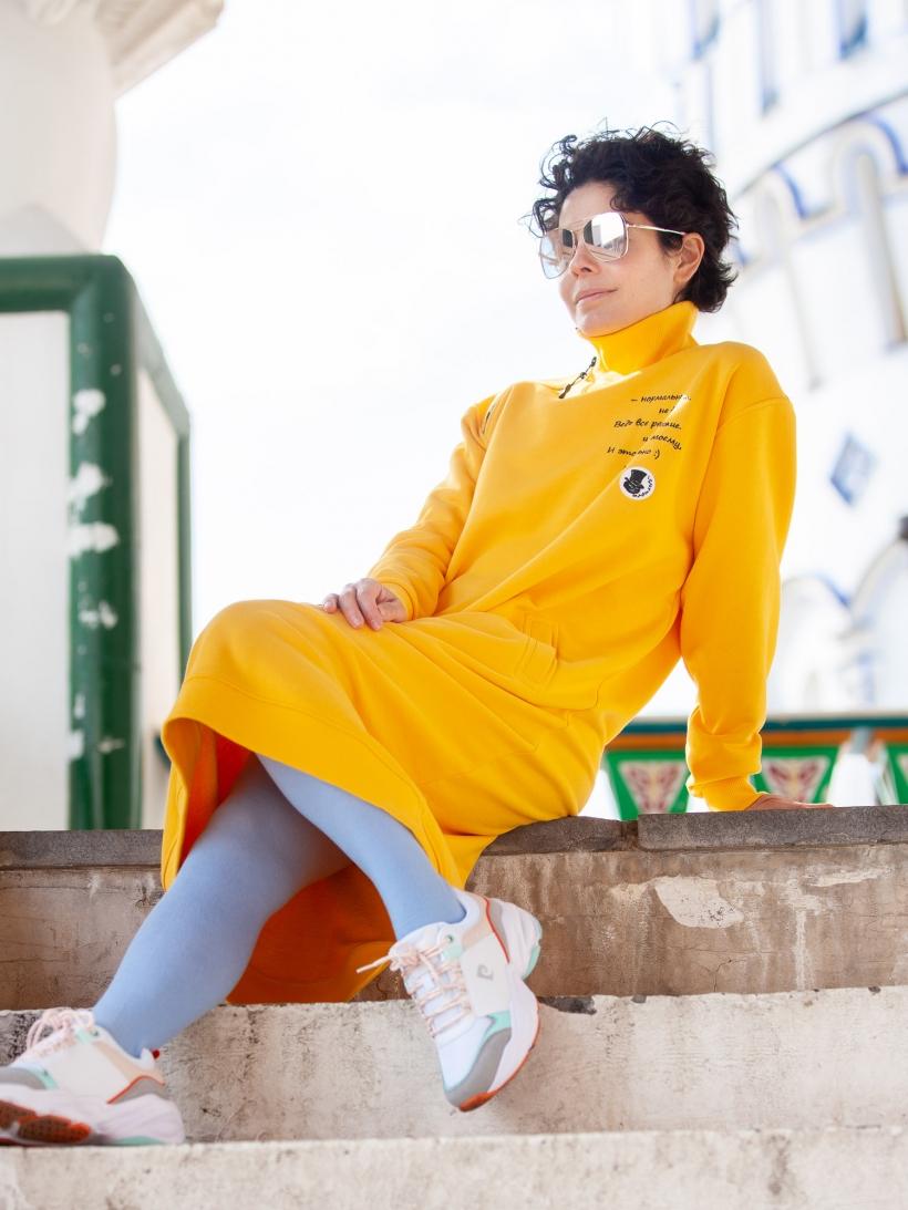 Платье из футера манго