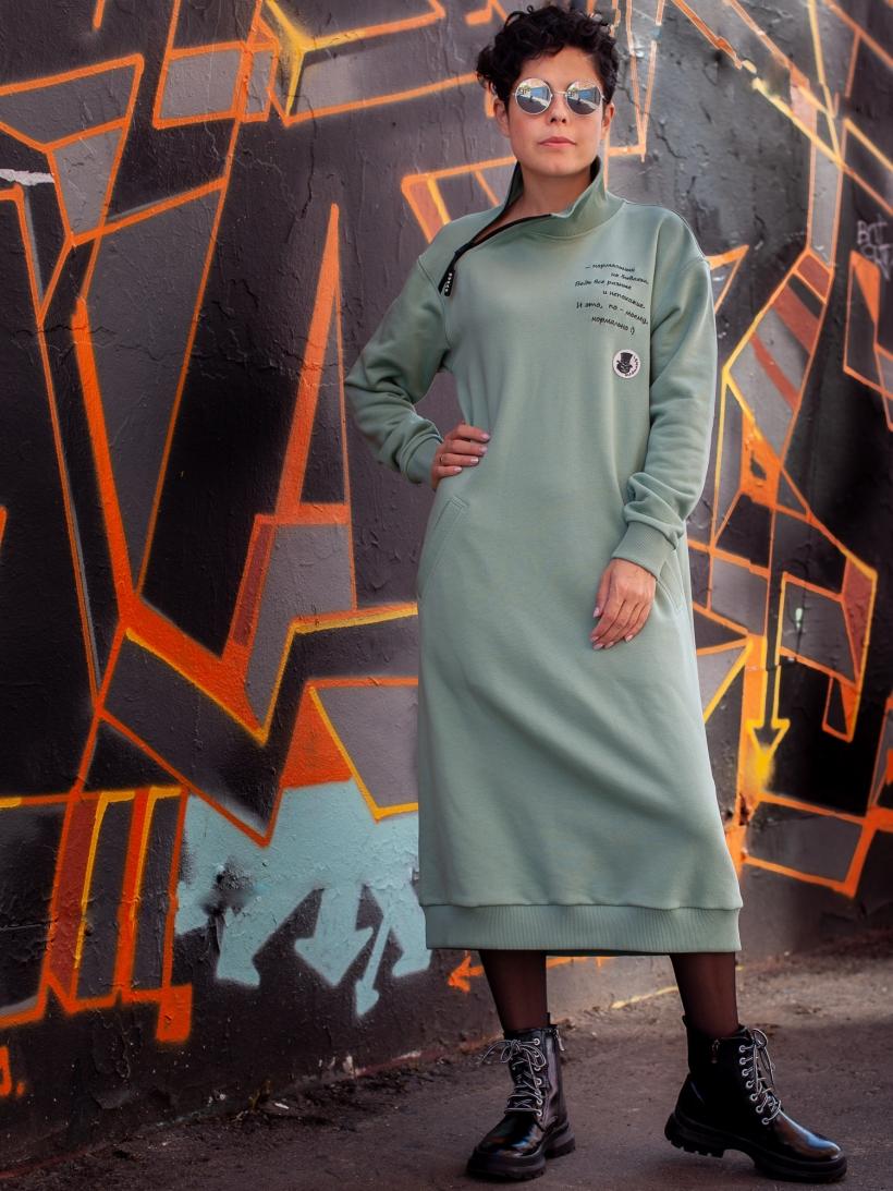 Платье из футера эвкалипт