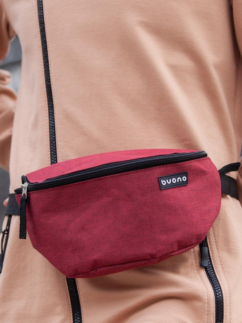 Поясная сумка бордовый меланж