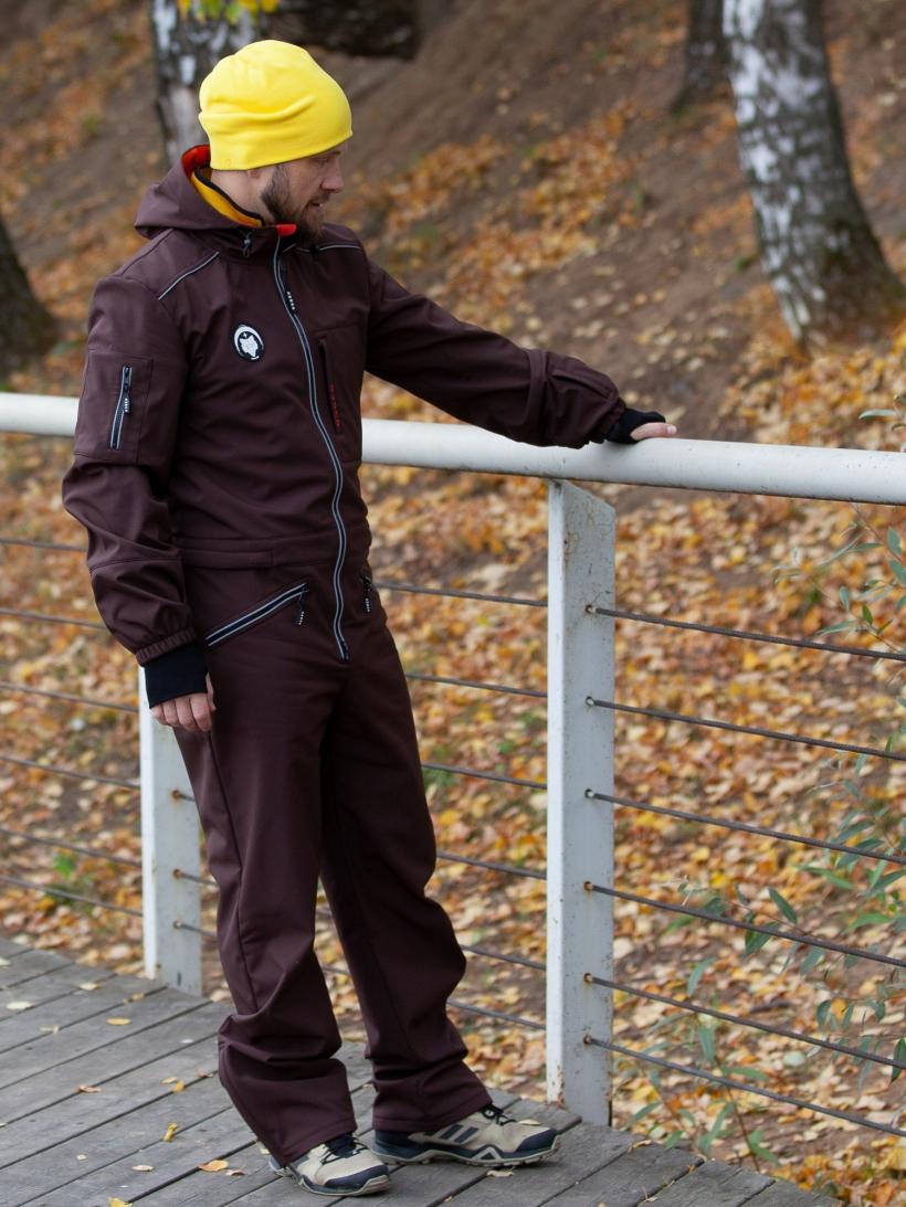 Комбинезон  мужской мембрана с гигиенич молнией коричневый